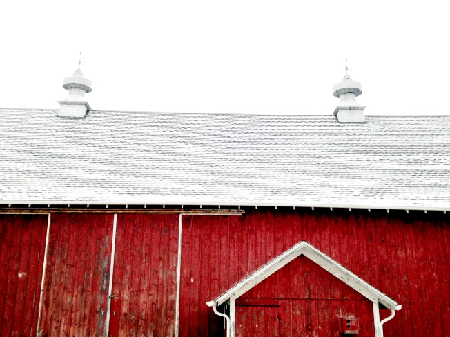 The first snowfall of the year settles on the roof of the barn at Yunker Farm on January 3, 2015 in Mokena.